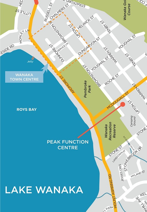 Map showing location of Peak Events and Function Centre